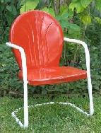 Texas A&M, Metal lawn chair, tulip chair, shell chair, motel chair