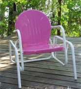 metal lawn chair, vintage metal lawn chair, bouncer chair, shell chair, tulip chair, motel chair
