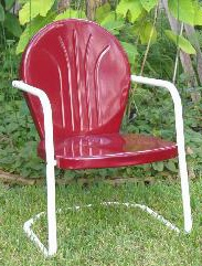 Metal lawn chair, tulip chair, shell chair, motel chair, bouncer chair, glider chair