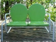 vintage metal bouncer, metal lawn chair, tulip chair, shell chair, motel chair
