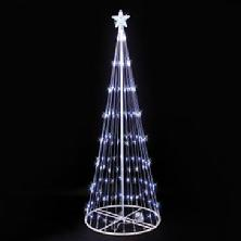 6 white led light show cone christmas tree lighted yard art decoration - White Outdoor Christmas Tree
