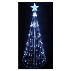 6 white led light show cone christmas tree lighted yard art decoration - Outdoor Christmas Tree Decorations