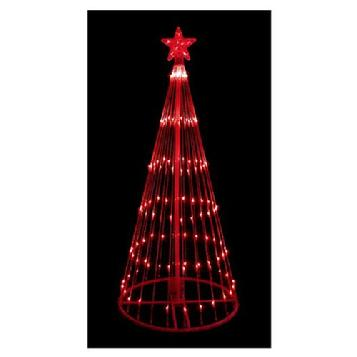 6 red led light show cone christmas tree lighted yard art decoration - Outdoor Christmas Trees