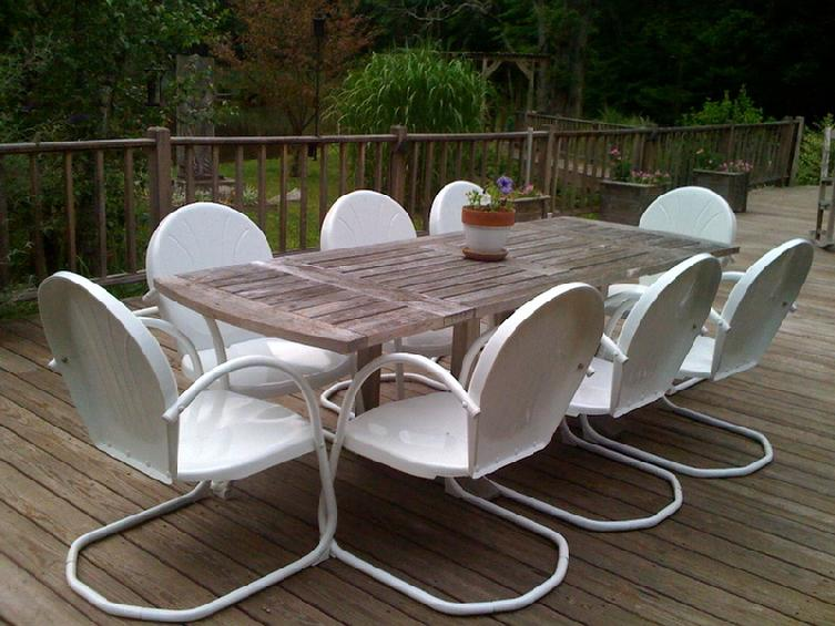 6 Classic Retro Metal Lawn White Chairs Furniture